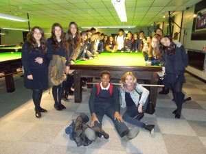 Foto de grupo en el Woodside Snooker Centre